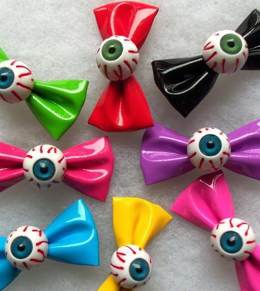 Candy-Color-Eye-Bow-Hairpin-Bloodshot-Eyeball-Bow-Headband-Clip-Charm-Headband-Side-knotted-Hair-Jewelry